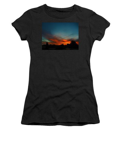 Red And Green Sunset Women's T-Shirt (Athletic Fit)