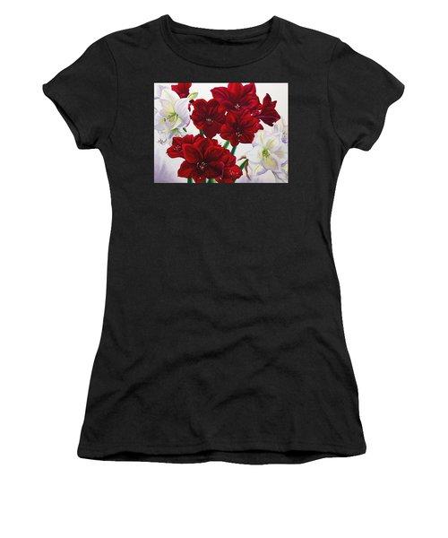 Red And White Amaryllis Women's T-Shirt