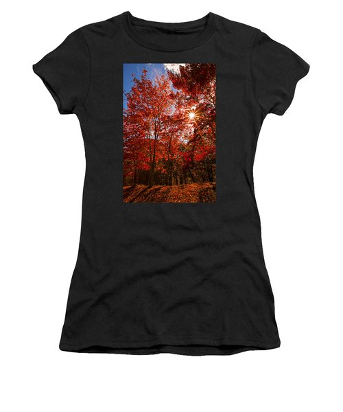 Women's T-Shirt (Junior Cut) featuring the photograph Red Autumn Leaves by Jerry Cowart