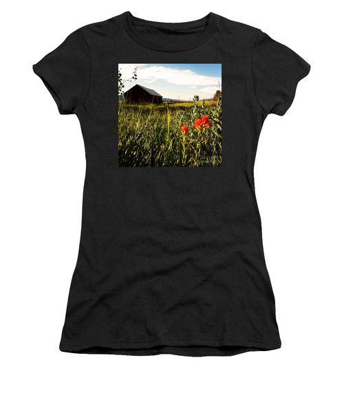 Women's T-Shirt (Junior Cut) featuring the photograph Red Barn by Meghan at FireBonnet Art