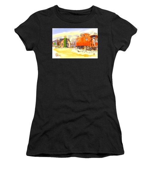 Red Caboose At Whistle Junction Ironton Missouri Women's T-Shirt