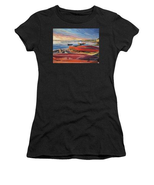 Red Canoe Sunset Women's T-Shirt