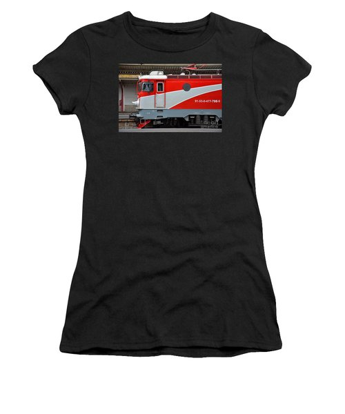 Women's T-Shirt (Junior Cut) featuring the photograph Red Electric Train Locomotive Bucharest Romania by Imran Ahmed