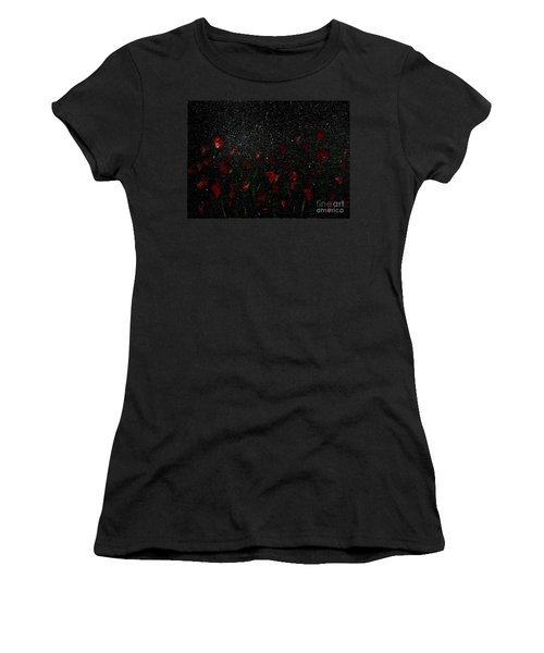 Women's T-Shirt (Junior Cut) featuring the painting Red Flowers In Moonlight by Becky Lupe