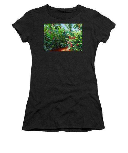 Tropical Jungle Landscape - Red Garden Hawaiian Torch Ginger Wall Art Women's T-Shirt