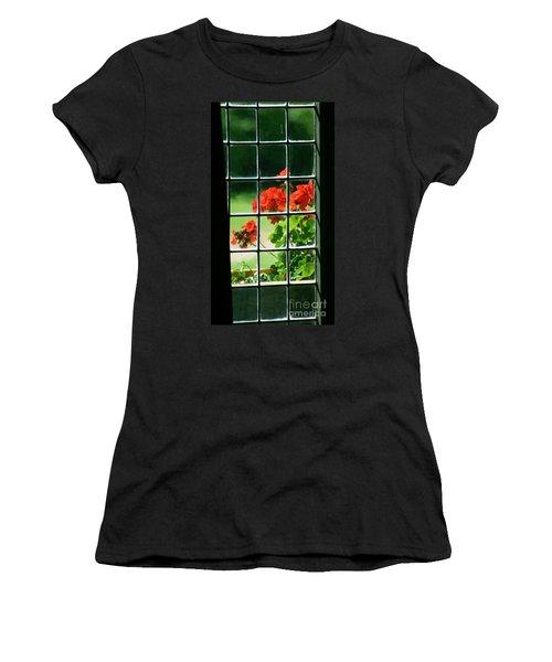 Red Geranium Through Leaded Window Women's T-Shirt