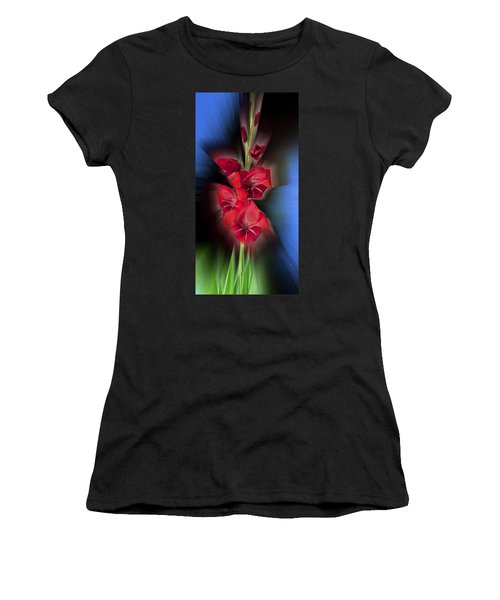 Women's T-Shirt (Junior Cut) featuring the photograph Red Gladiola by Mark Greenberg