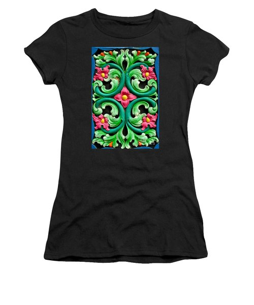 Red Green And Blue Floral Design Singapore Women's T-Shirt (Athletic Fit)
