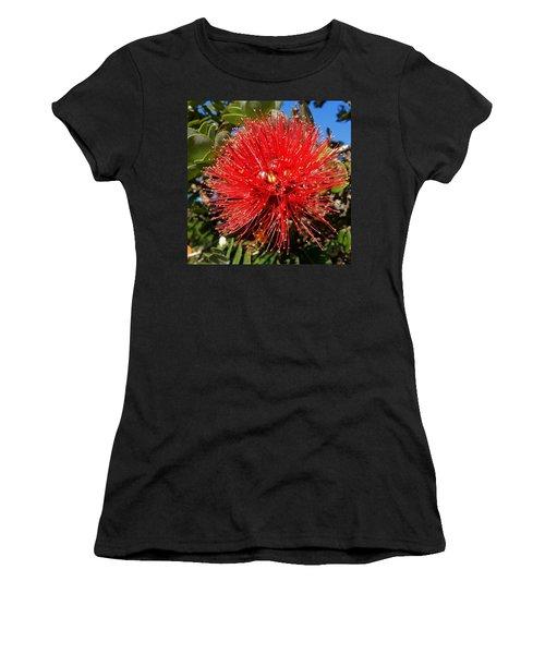 Red Lehua Women's T-Shirt (Junior Cut) by Pamela Walton