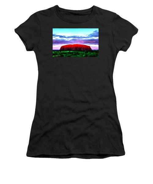 Women's T-Shirt (Junior Cut) featuring the painting Red Mountain Sunset by Bruce Nutting