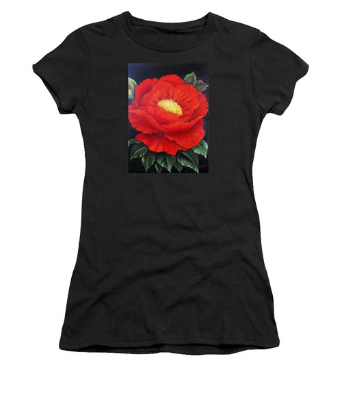 Red Peony Women's T-Shirt (Athletic Fit)
