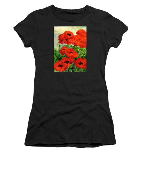 Red  Poppies In Shade Colorful Flowers Garden Art Women's T-Shirt (Athletic Fit)