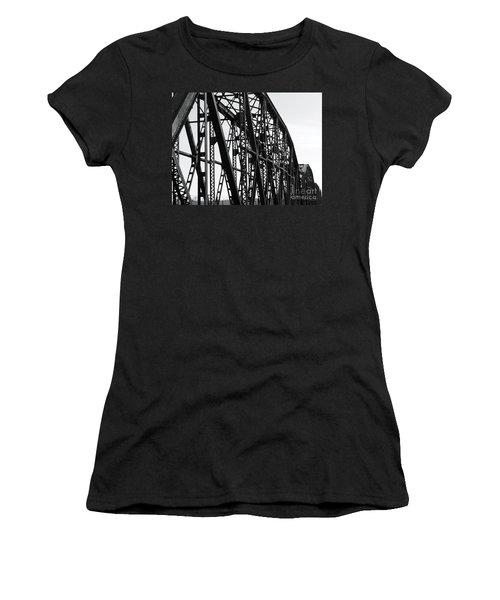 Women's T-Shirt (Junior Cut) featuring the photograph Red River Train Bridge #4 by Robert ONeil