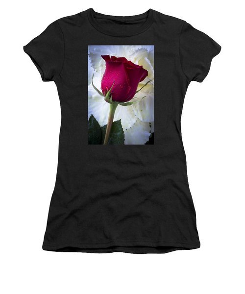 Red Rose And Kale Flower Women's T-Shirt