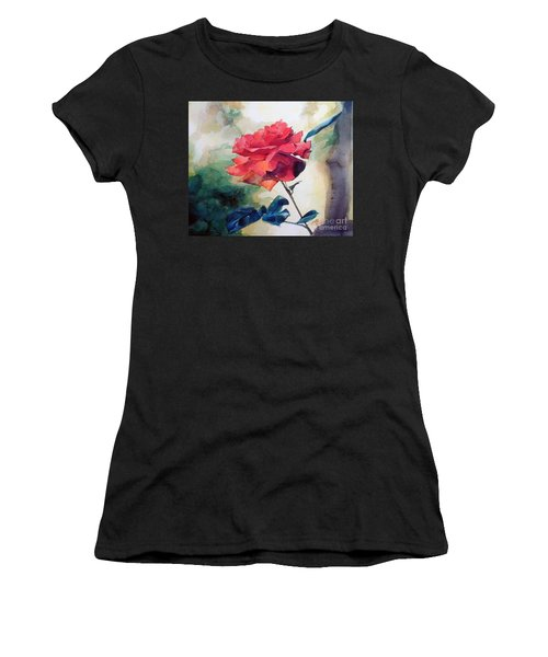 Watercolor Of A Single Red Rose On A Branch Women's T-Shirt (Athletic Fit)