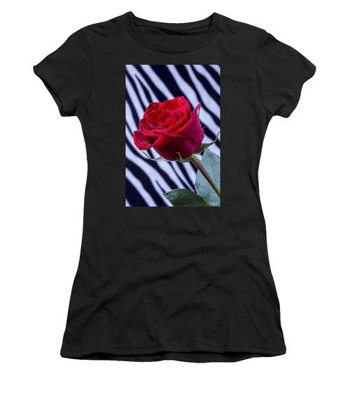 Red Rose With Stripes Women's T-Shirt