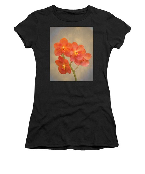 Red Scarlet Orchid On Grunge Women's T-Shirt