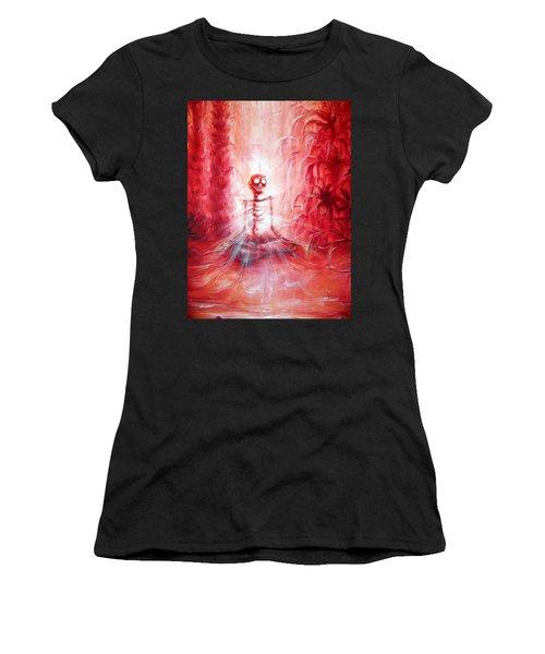 Red Skeleton Meditation Women's T-Shirt (Athletic Fit)