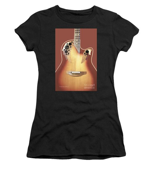 Redish-brown Guitar On Redish-brown Background Women's T-Shirt
