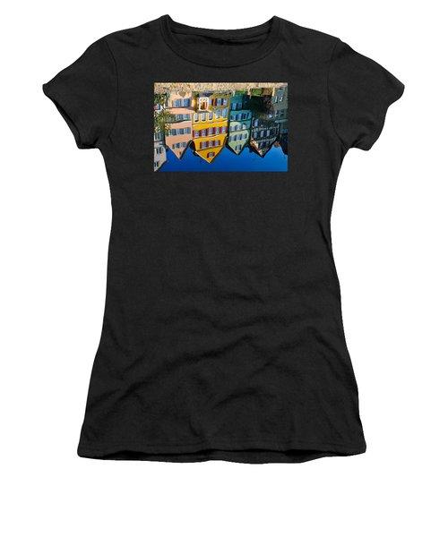 Reflection Of Colorful Houses In Neckar River Tuebingen Germany Women's T-Shirt (Junior Cut) by Matthias Hauser