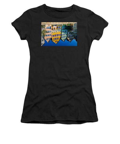 Reflection Of Colorful Houses In Neckar River Tuebingen Germany Women's T-Shirt