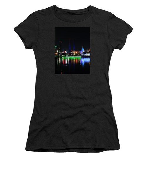 Reflections At Night Women's T-Shirt (Junior Cut) by Kathy Long