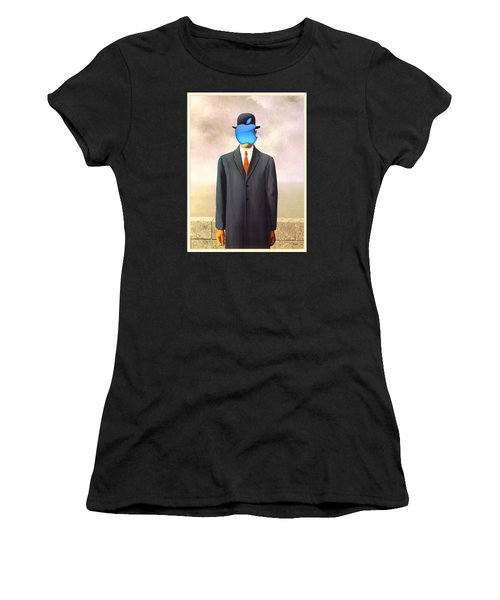 Rene Magritte Son Of Man Apple Computer Logo Women's T-Shirt (Athletic Fit)