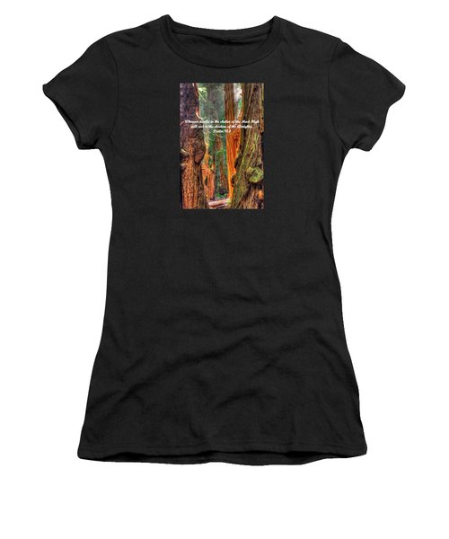 Rest In The Shadow Of The Almighty - Psalm 91.1 - From Sunlight Beams Into The Grove At Muir Woods Women's T-Shirt (Athletic Fit)