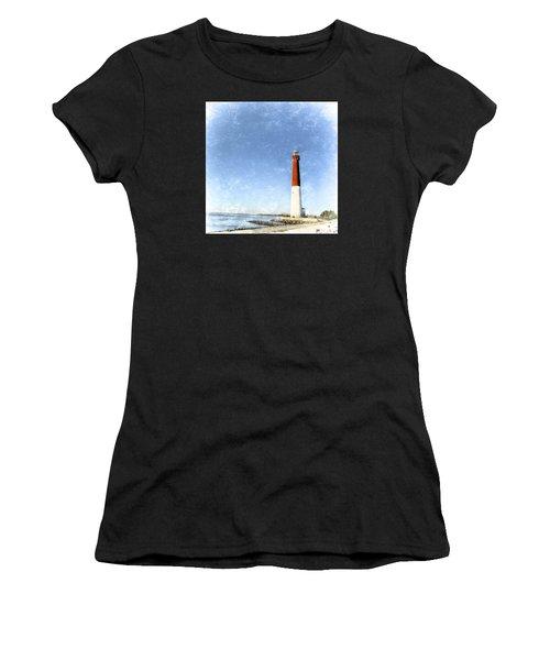Retro Barnegat Lighthouse Barnegat Light New Jersey Women's T-Shirt (Athletic Fit)