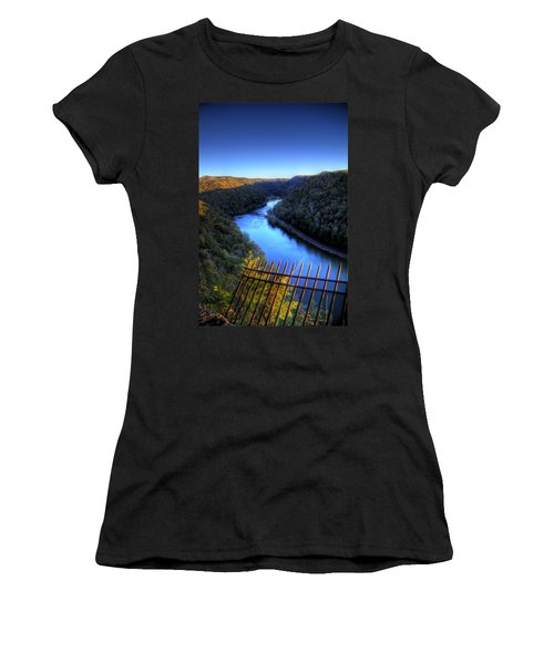 Women's T-Shirt (Junior Cut) featuring the photograph River Through A Valley by Jonny D