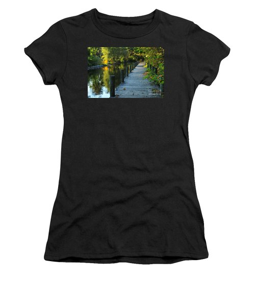 River Walk In Traverse City Michigan Women's T-Shirt (Athletic Fit)