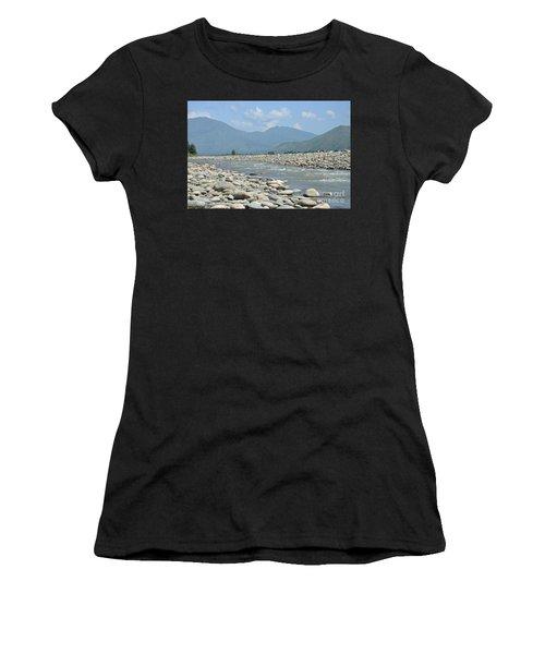Riverbank Water Rocks Mountains And A Horseman Swat Valley Pakistan Women's T-Shirt