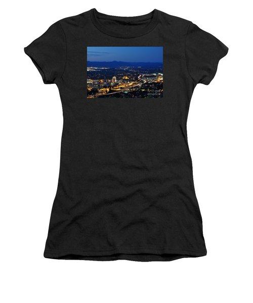 Roanoke City As Seen From Mill Mountain Star At Dusk In Virginia Women's T-Shirt (Junior Cut) by Paul Fearn