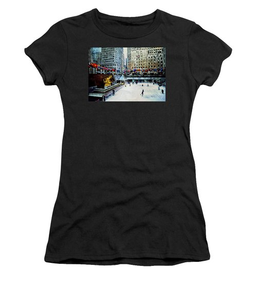 Rockefeller Center Ice Skaters Nyc Women's T-Shirt (Athletic Fit)
