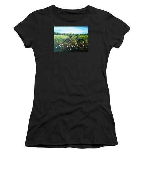 Women's T-Shirt (Junior Cut) featuring the painting Romantic Break by Vesna Martinjak