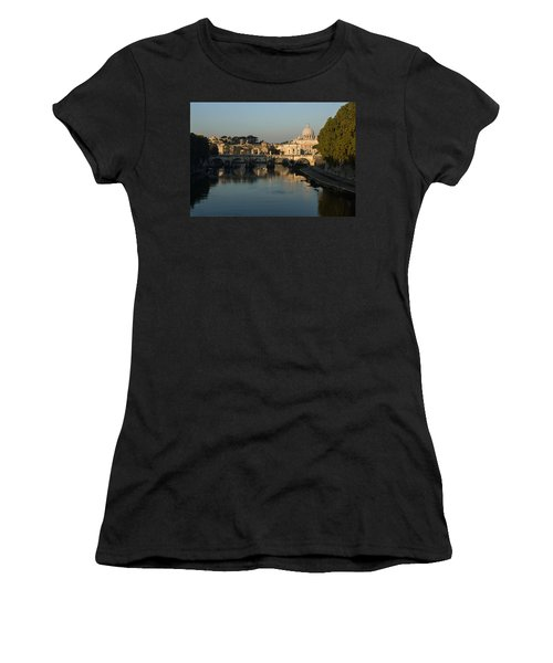 Rome - Iconic View Of Saint Peter's Basilica Reflecting In Tiber River Women's T-Shirt