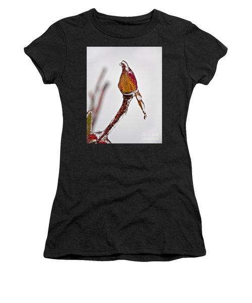 Rosebud Frozen In Ice Art Prints Women's T-Shirt