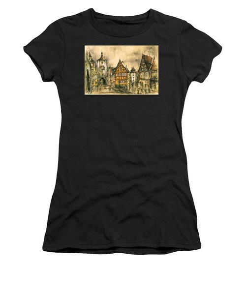 Rothenburg Bavaria Germany - Romantic Watercolor Women's T-Shirt