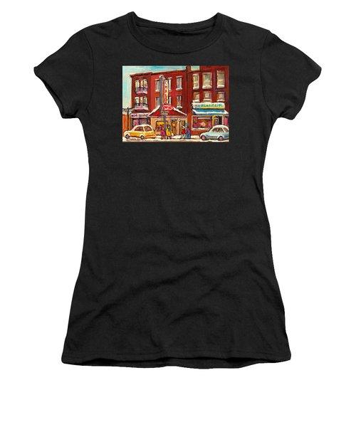 Rotisserie Le Chalet Bar B Q Sherbrooke West Montreal Winter City Scene Women's T-Shirt