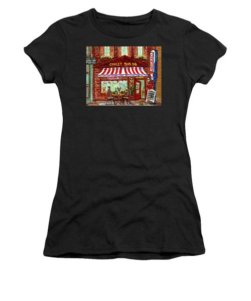 Rotisserie Le Chalet Bbq Restaurant Paintings Storefronts Street Scenes Diners Montreal Art Cspandau Women's T-Shirt