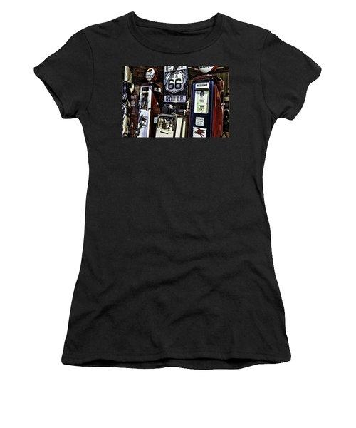 Women's T-Shirt (Junior Cut) featuring the painting Route 66 by Muhie Kanawati