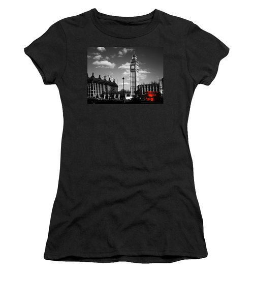 Routemaster Bus On Black And White Background Women's T-Shirt (Athletic Fit)