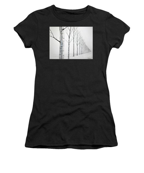 Row Of Birch Trees In The Snow Women's T-Shirt