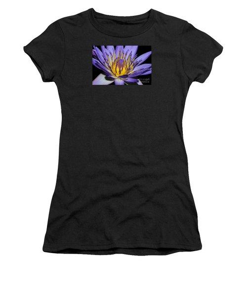 Royal Purple Water Lily #5 Women's T-Shirt (Junior Cut) by Judy Whitton