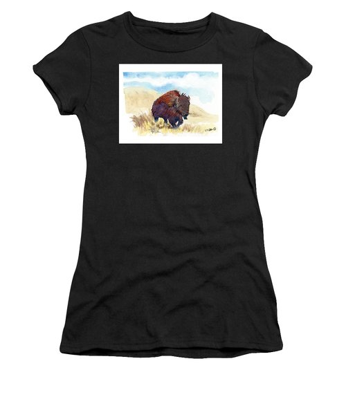 Running Buffalo Women's T-Shirt (Athletic Fit)
