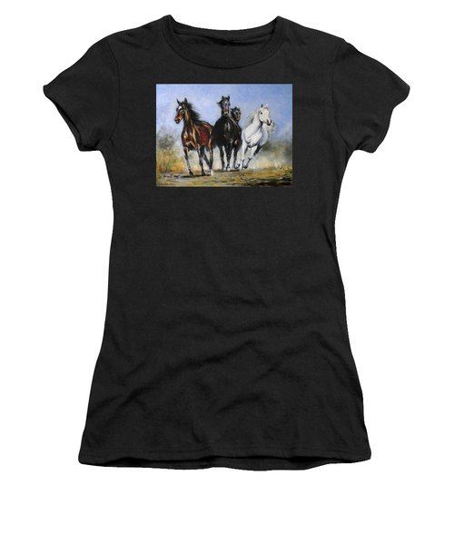 Running Horses Women's T-Shirt (Athletic Fit)