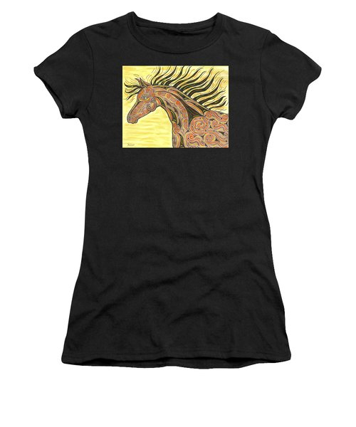Women's T-Shirt (Junior Cut) featuring the painting Running Wild Horse by Susie WEBER