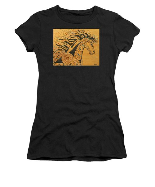 Women's T-Shirt (Junior Cut) featuring the painting Runs With The Wind by Susie WEBER
