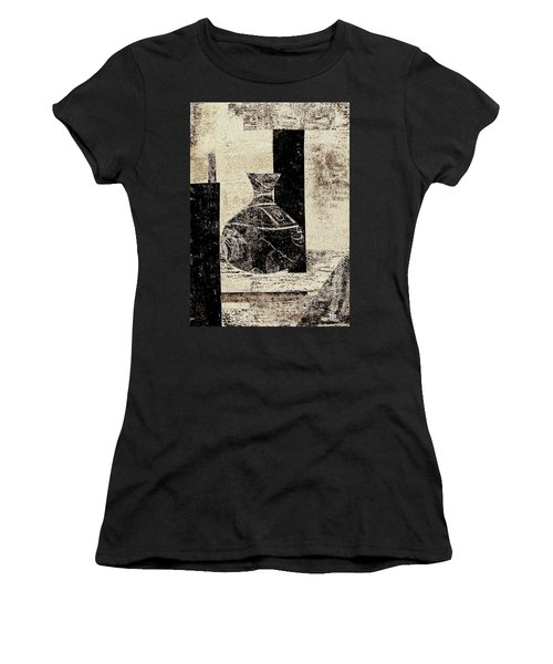 Rustic Vase Black And White Women's T-Shirt (Junior Cut) by Patricia Cleasby