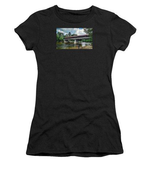 Women's T-Shirt (Junior Cut) featuring the photograph Saco River Covered Bridge  by Debbie Green